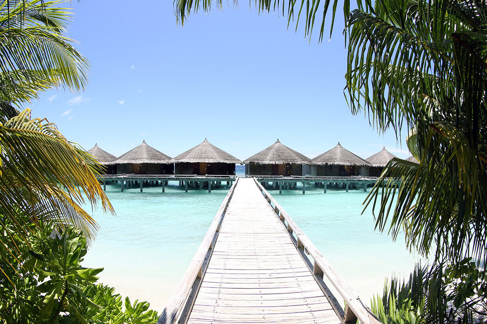 View of overwater bungalows in Tahiti