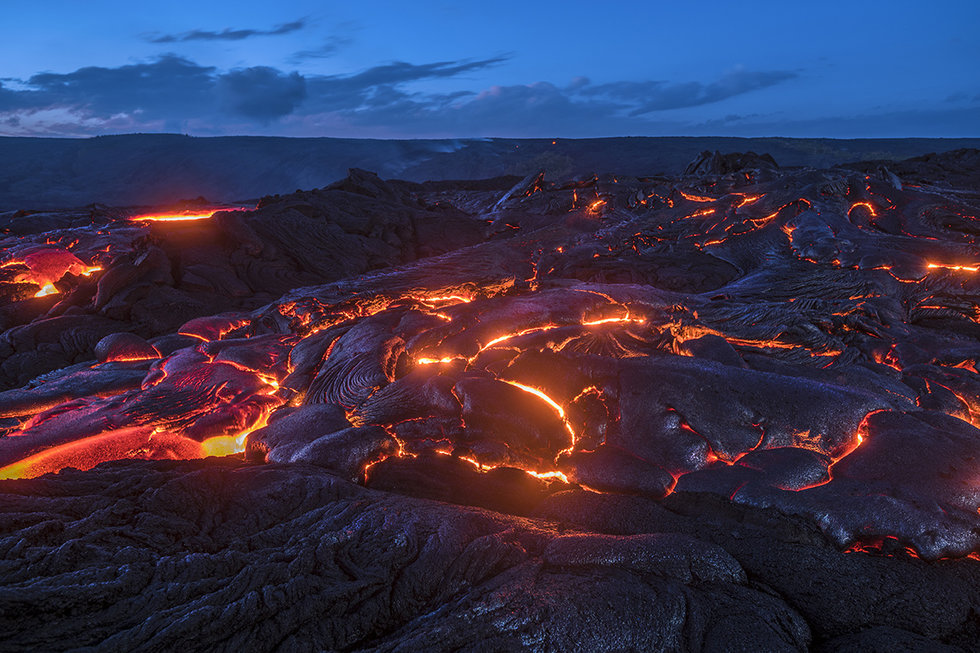 Flowing lava in Hilo, Hawaii