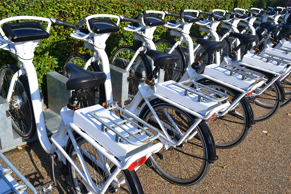Commuter bikes for rent on a city street