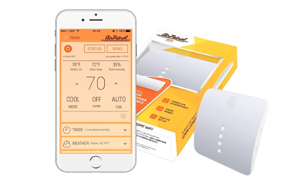 Picture of AirPatrol, a smart air conditioner controller  and their app.