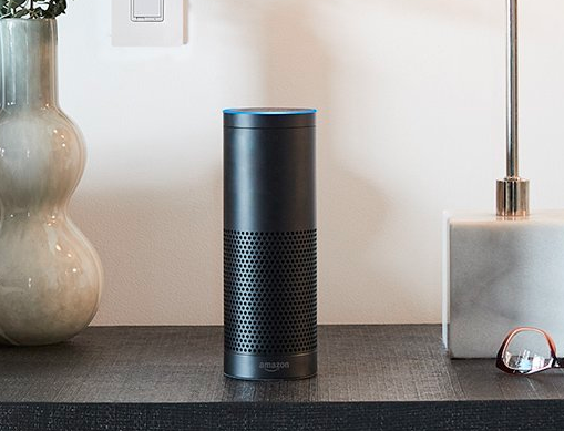 Amazon Echo Plus on a tabletop.