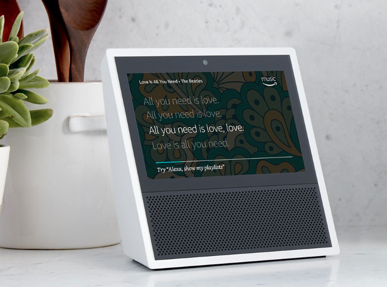 Amazon Echo Show on a tabletop.
