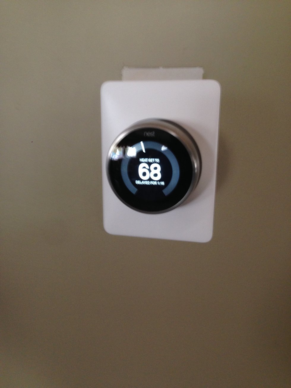 Vivint installed Nest Pro Thermostat on a wall.