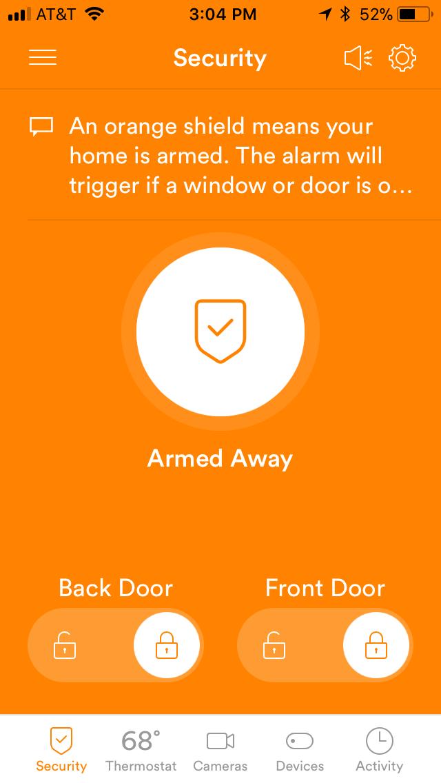 Vivint mobile app showing dashboard color orange which means Vivint Smart Home system is armed.