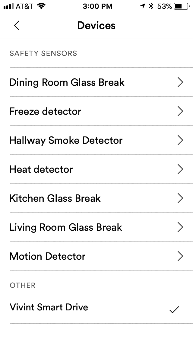 Vivint mobile app showing devices you can add to your Vivint Smart Home System.
