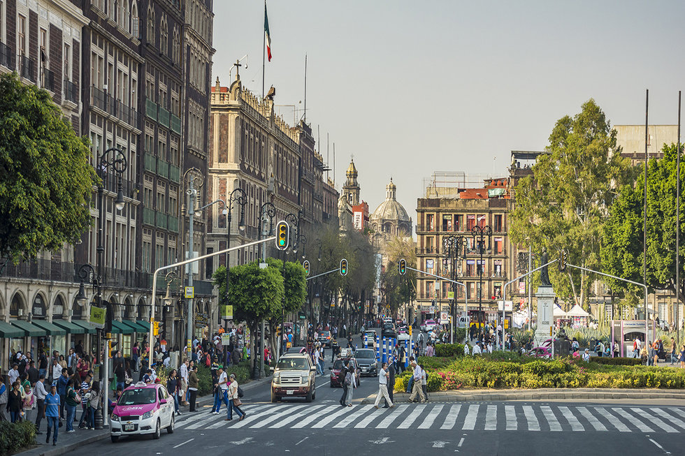 Busy downtown Historic Center street in Mexico City