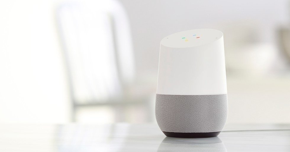 Picture of google home on a table top