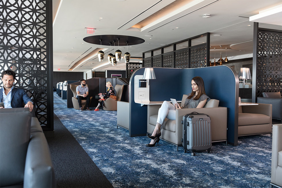 The spacious lounge seating at the new United Polaris lounge at EWR