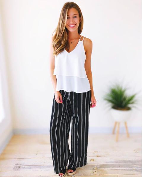 Lotus White Top w/ Striped Pants