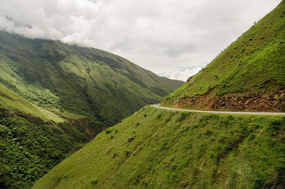 Road between the mountains in Chachapoyas, Peru