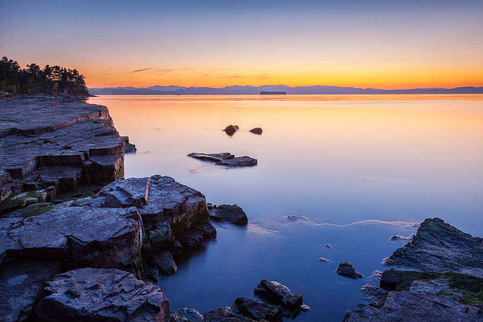 Dusk over Lake Champlain in Burlington, Vermont