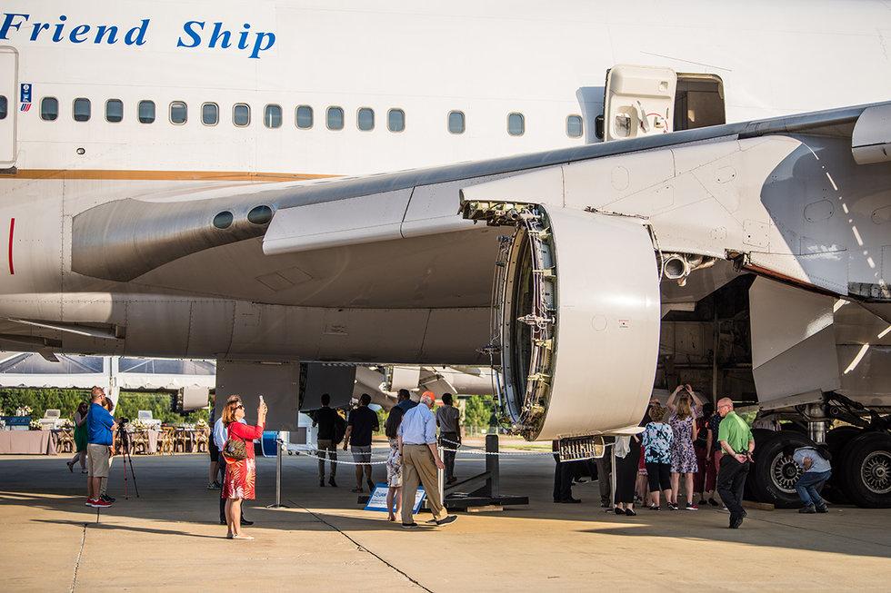 MileagePlus members walking around the last 747