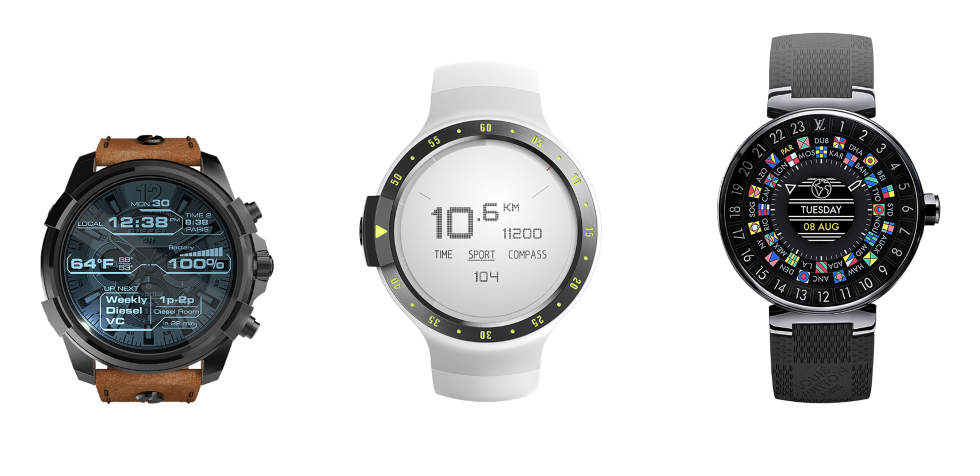 three smart watches with Wear OS.
