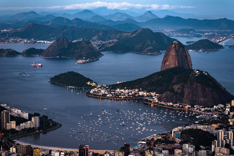 Aerial view of Rio de Janeiro at sunset
