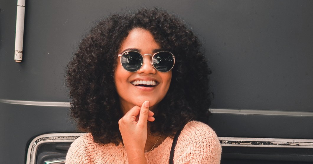 Girl with curly dark hair