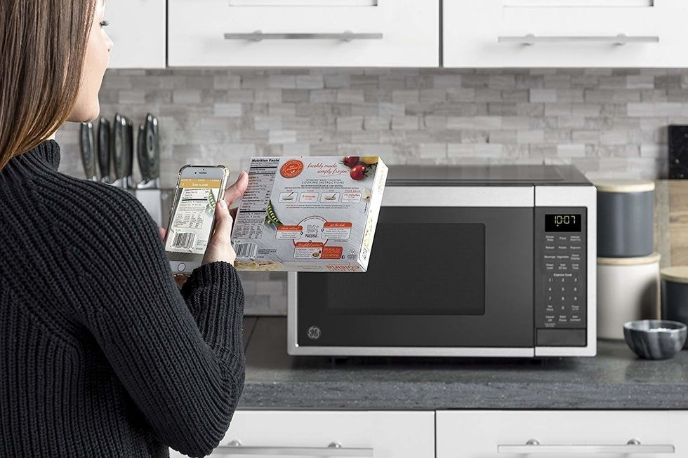 Picture of GE Smart Microwave on a kitchen counter