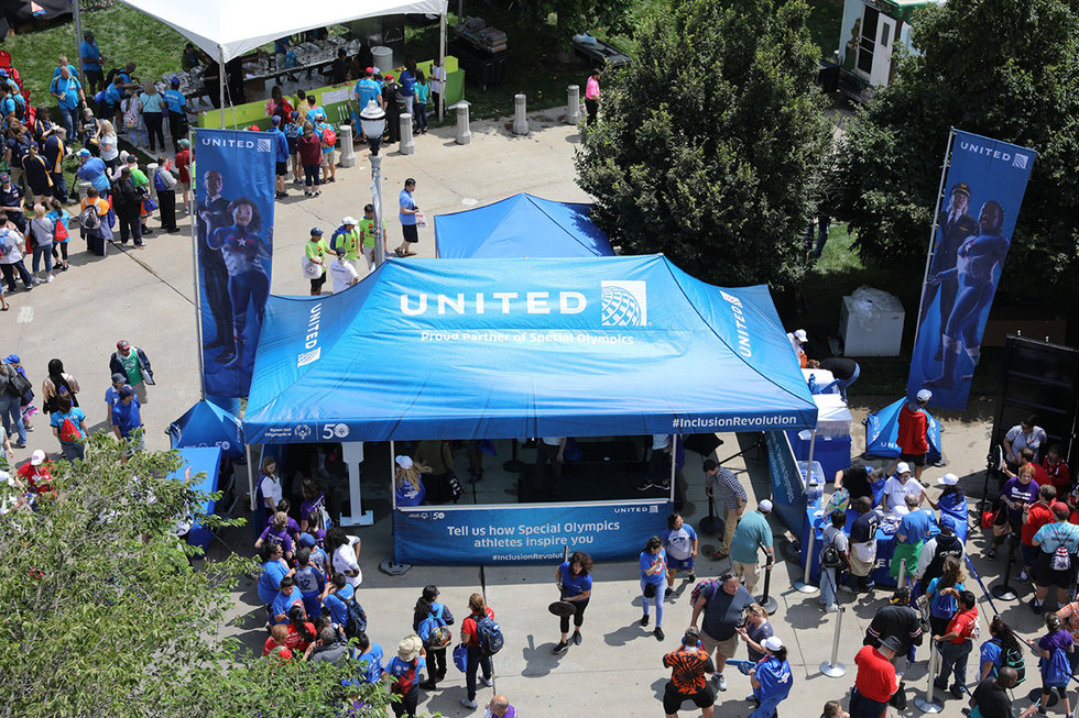 Aerial view of United's tent at the Day of Inclusion events