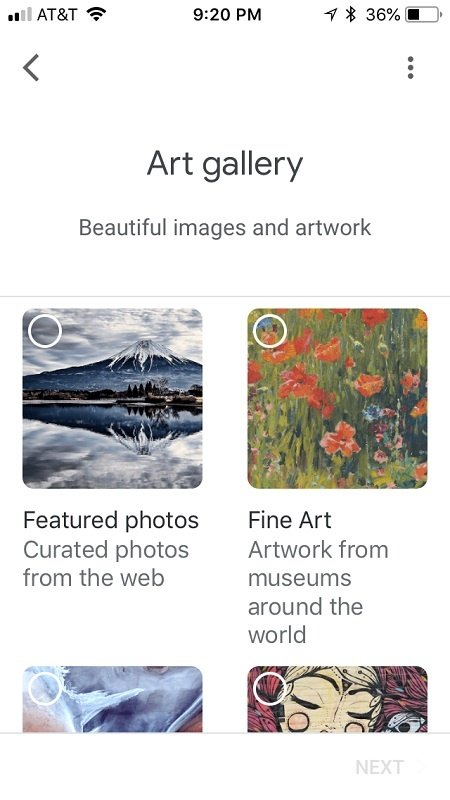 Google Home app Art Gallery section