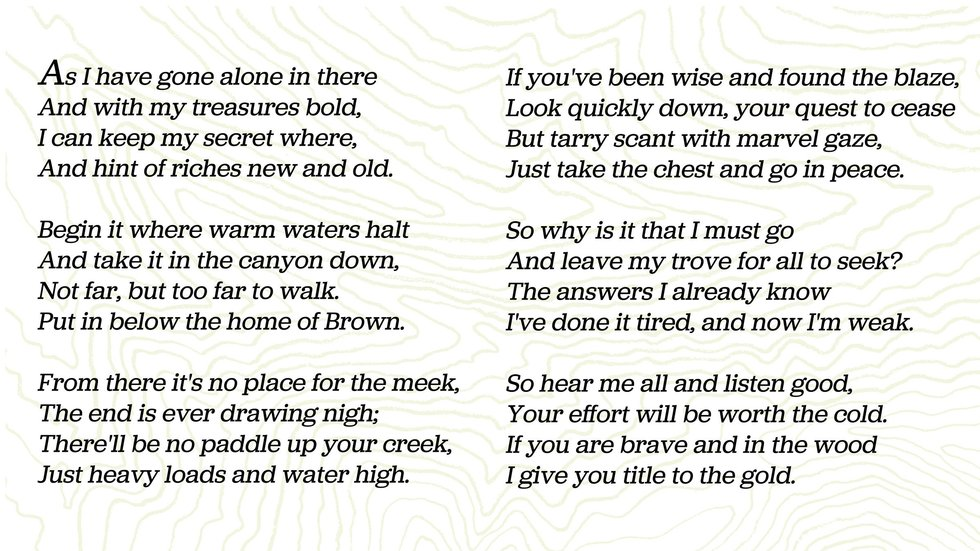If You Can Decipher The Clues In This Poem Youll Find A Treasure
