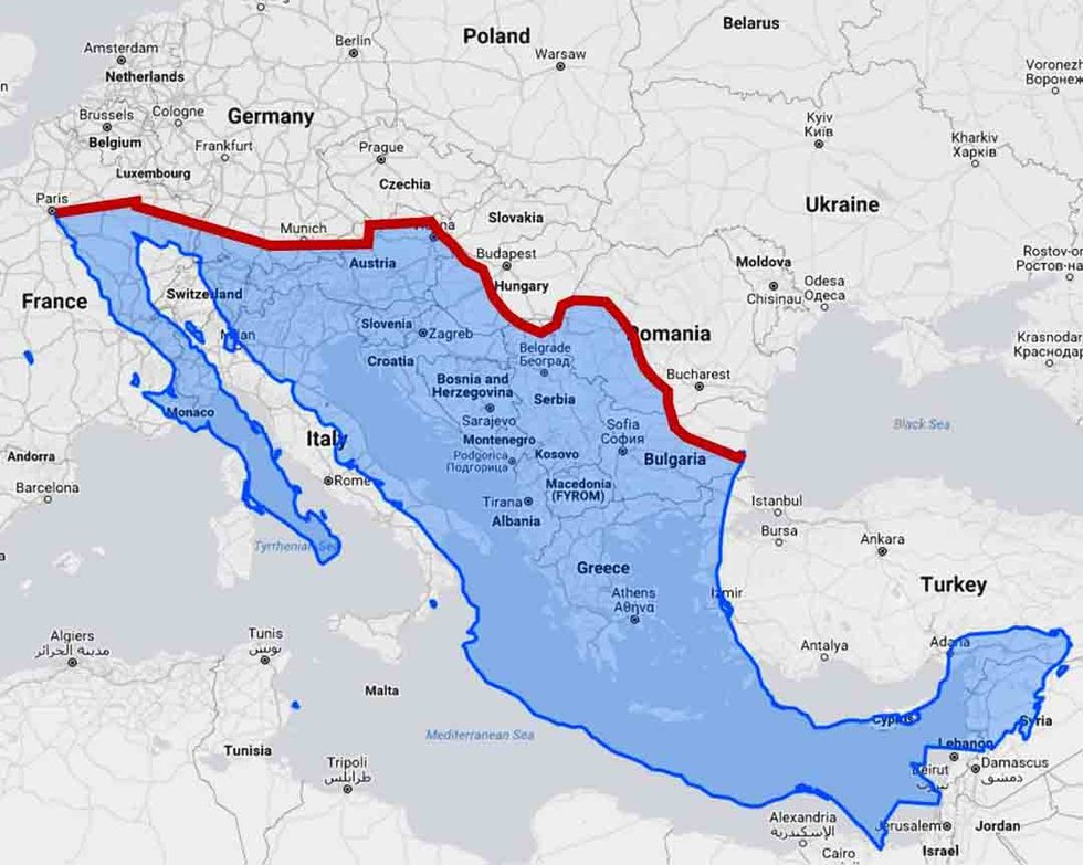 U.S.-Mexico border wall would divide Europe in half