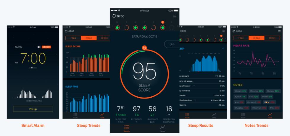 Beddit sleep tracker data screen.