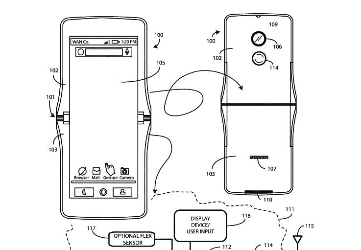 Patent sketches of folding Motorola smartphone.
