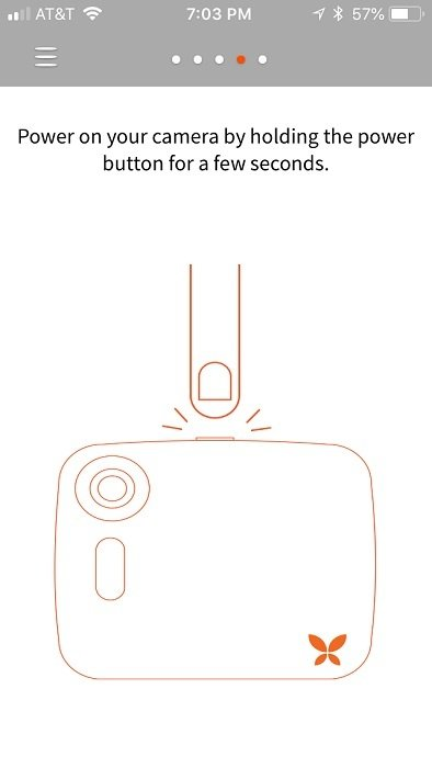 Turn on your Ooma Butterfleye by pressing down on the button on top of the camera.