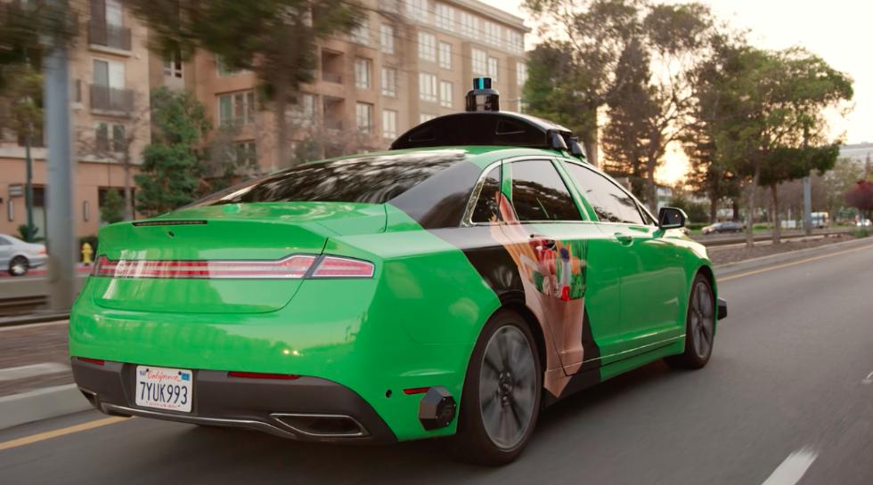 A self driving car using autox app.