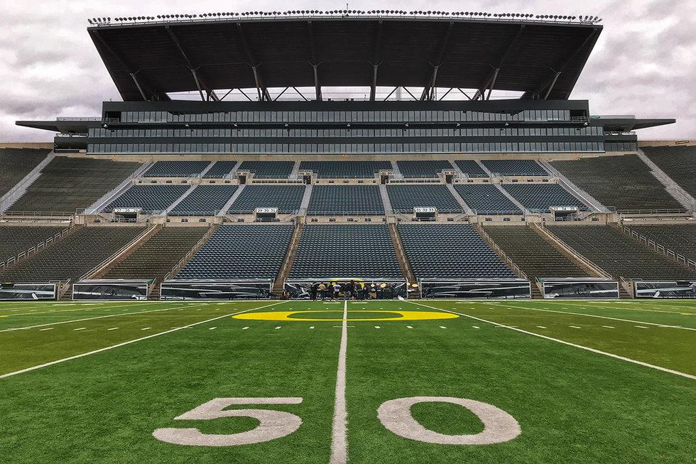 Football field at the University of Oregon