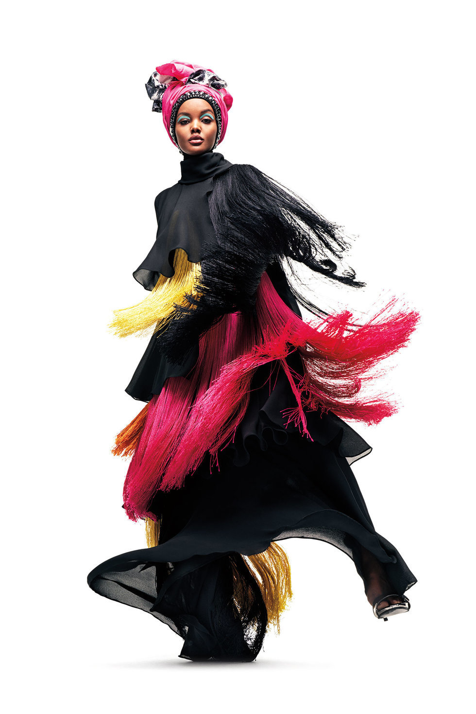Halima Aden, wearing Dian Pelangi.  (Sebastian Kim, courtesy of Fine Arts Museums of San Francisco)