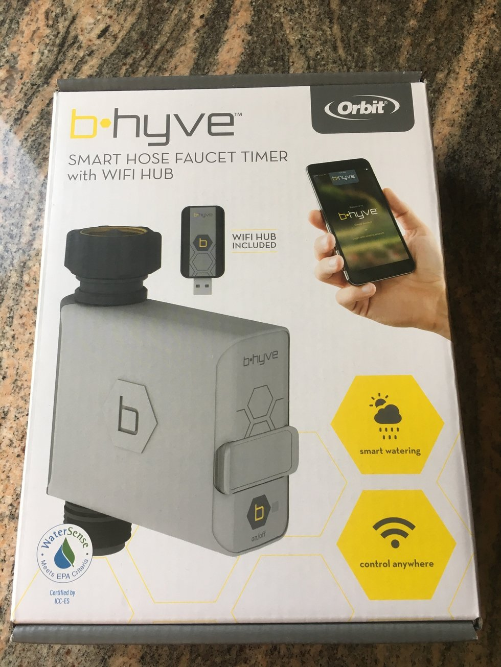 Picture of the box of Orbit Bhyve smart hose faucet.