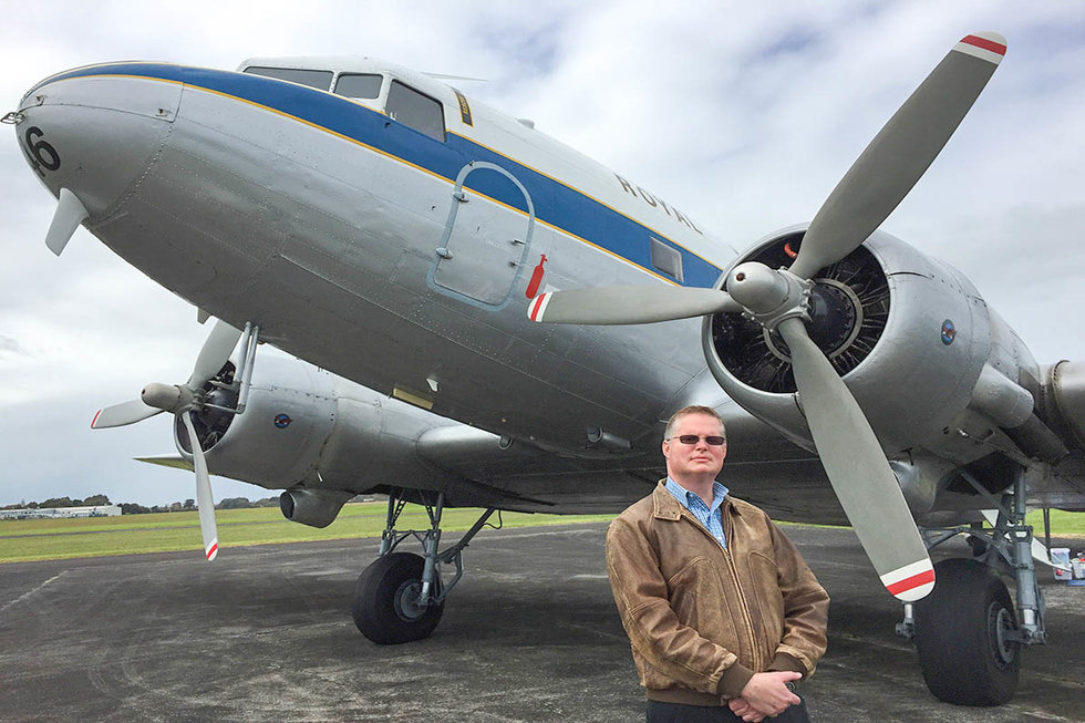 Scott Cooper with the DC-3 aircraft