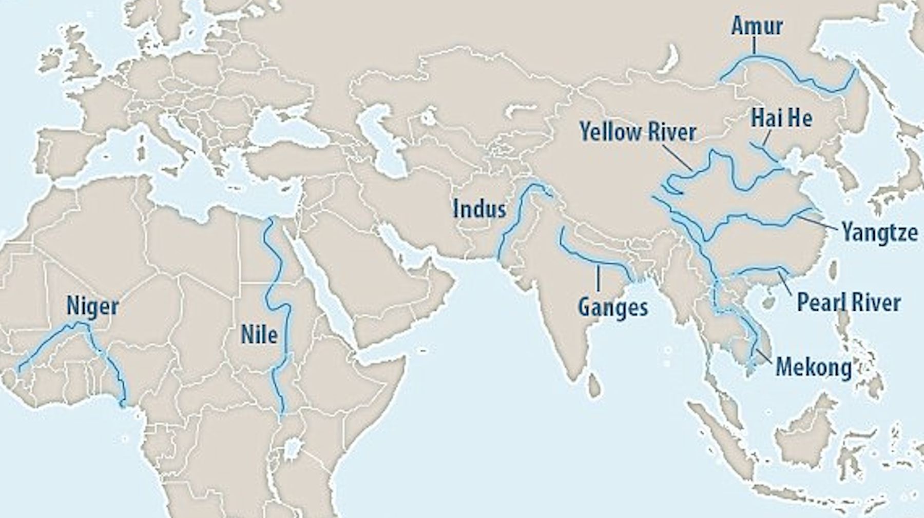 Yellow River World Map Trash rivers: these 10 rivers are responsible for most plastic