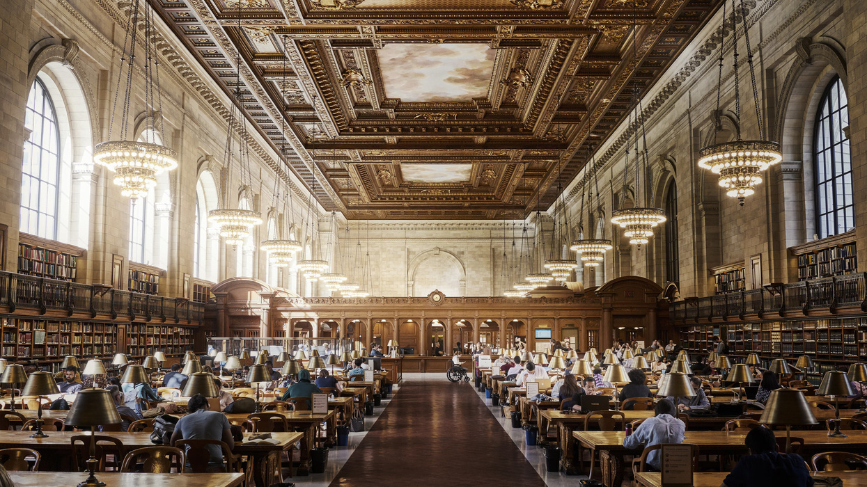 People studying in the New York Public Library Rose reading room.