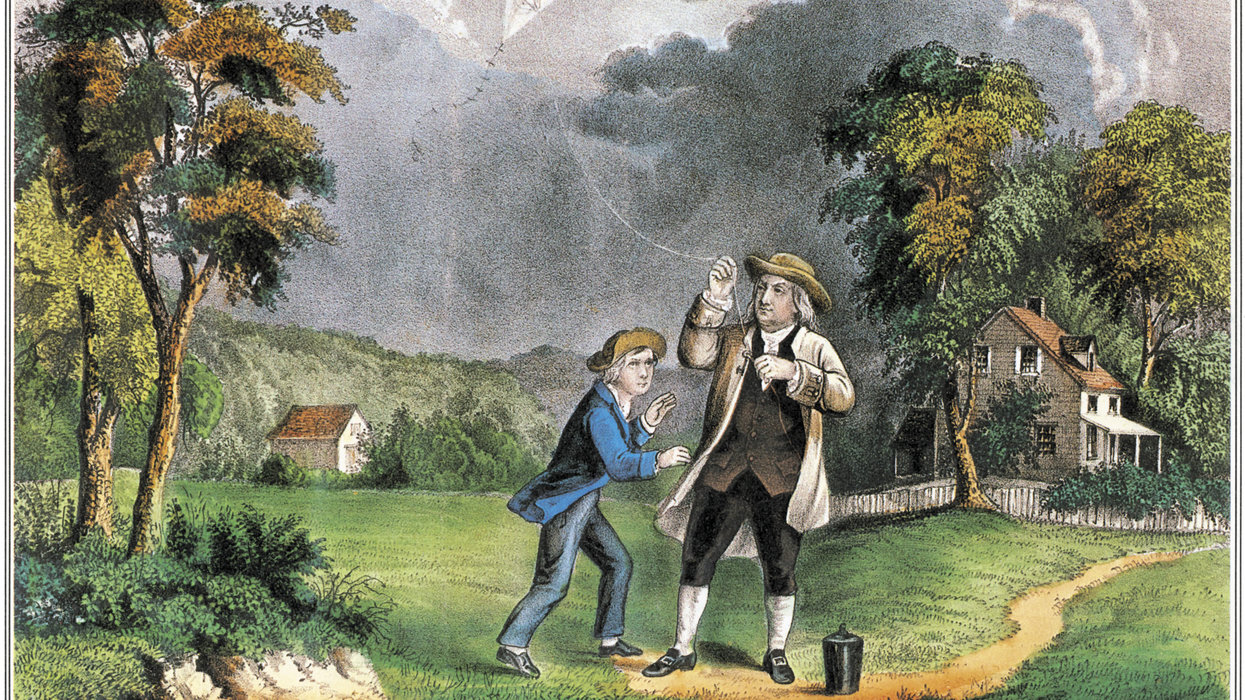 A lithograph of Benjamin Franklin and his son William performing their famous kite-and-key experiment.