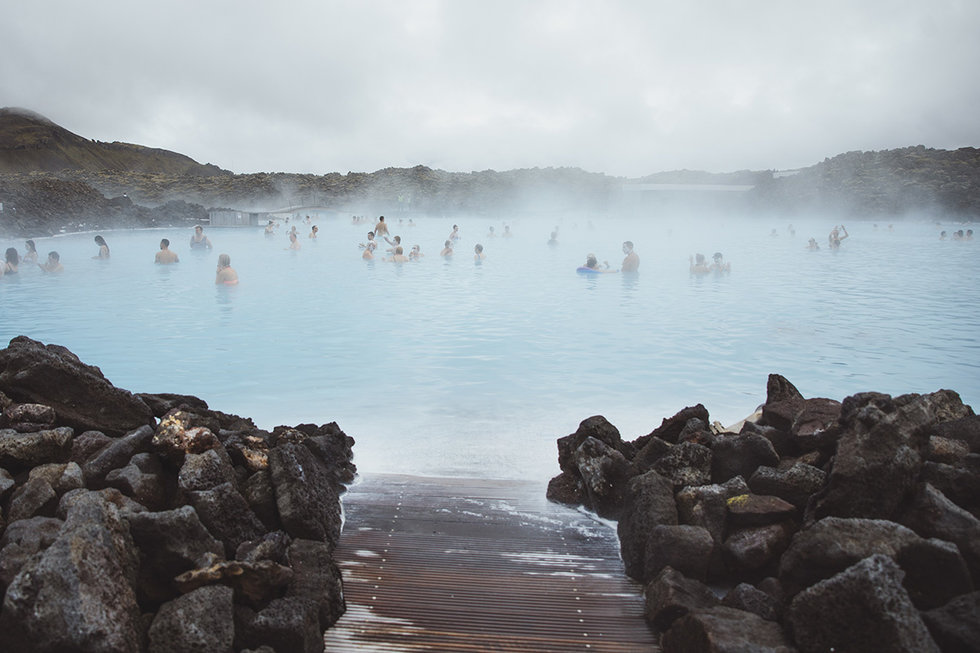 One of the many swimming pools in the Reykjavik area.