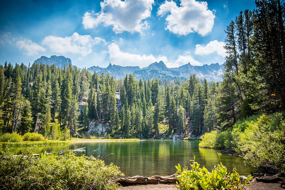 Emerald Lake in the Mammoth Lakes Basin appear green.