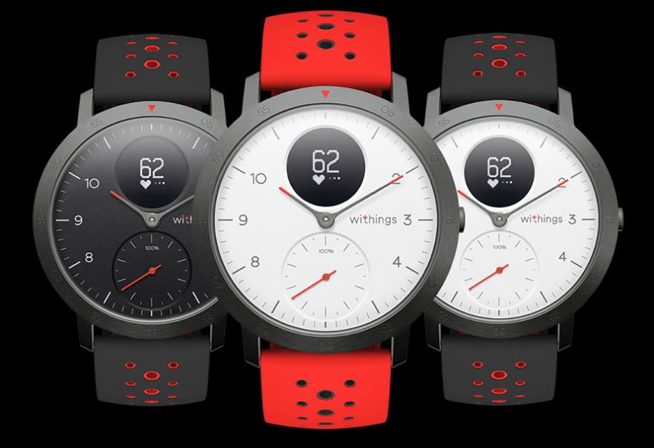 Picture of three Withings Steel HR Sport smartwatches.