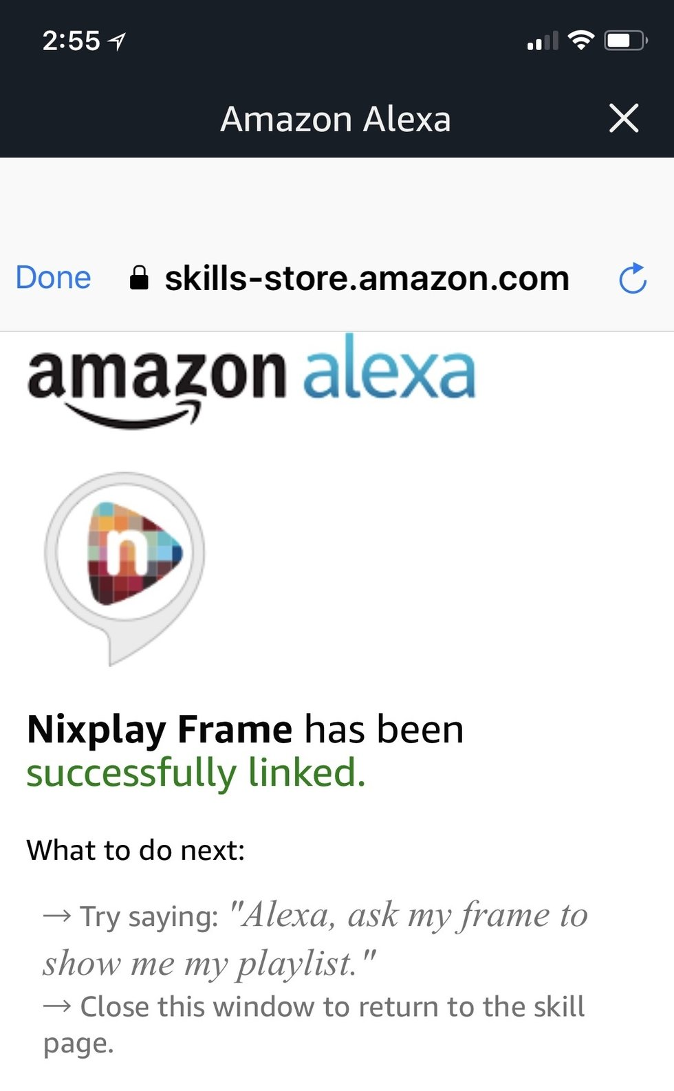 Picture of Alexa skill page in Alexa app for Nixplay Seed.
