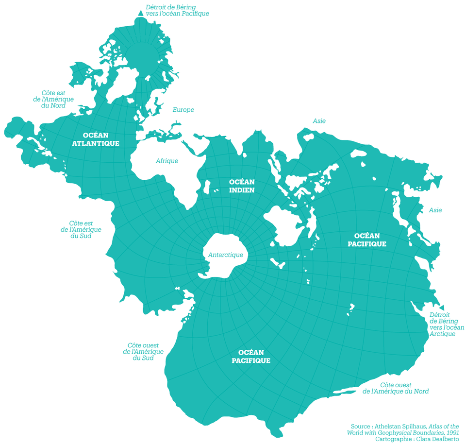 The Spilhaus Projection: Amazing map of Earth\'s oceans
