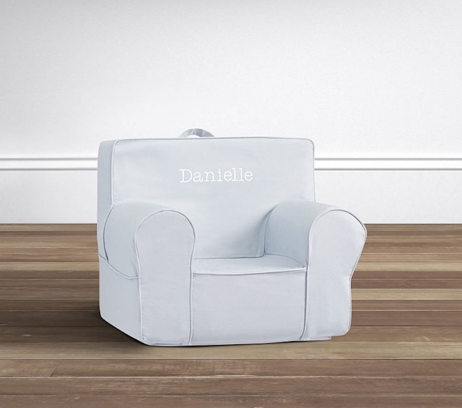 My First Light Blue Twill Anywhere Chair Pottery Barn Kids 8900