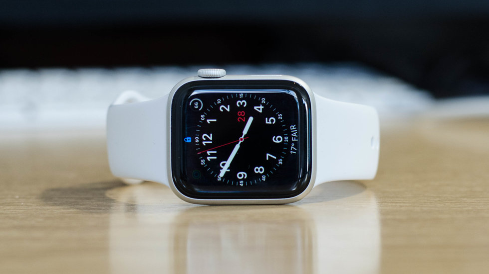 Picture of Apple Watch 4 on a table.