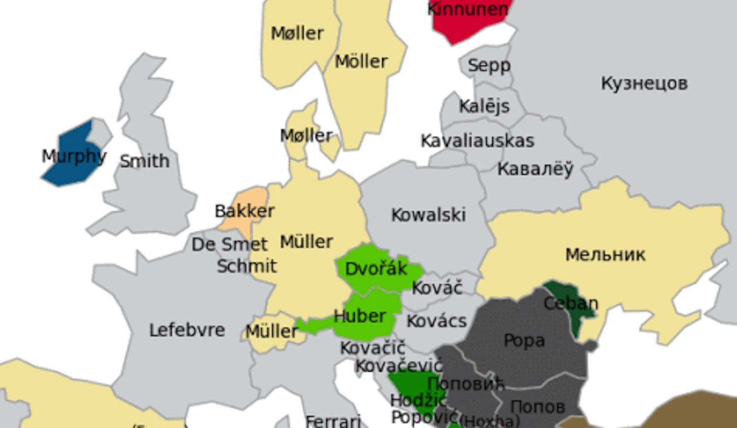 What Is The Most Popular Last Name In Europe Big Think