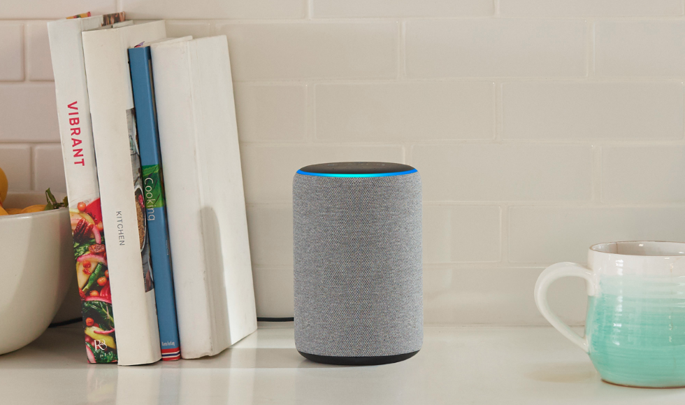 picture of Echo Plus on a shelf.