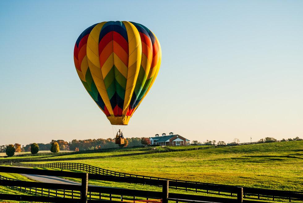 Hot Air Balloon on a farm