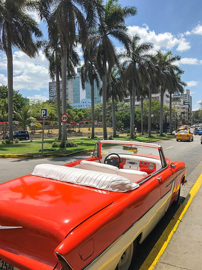 Colorful, classic cars in Cuba.