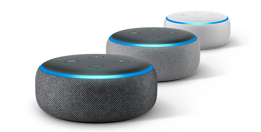 Picture of three Echo Dot (3rd gen) in a row.