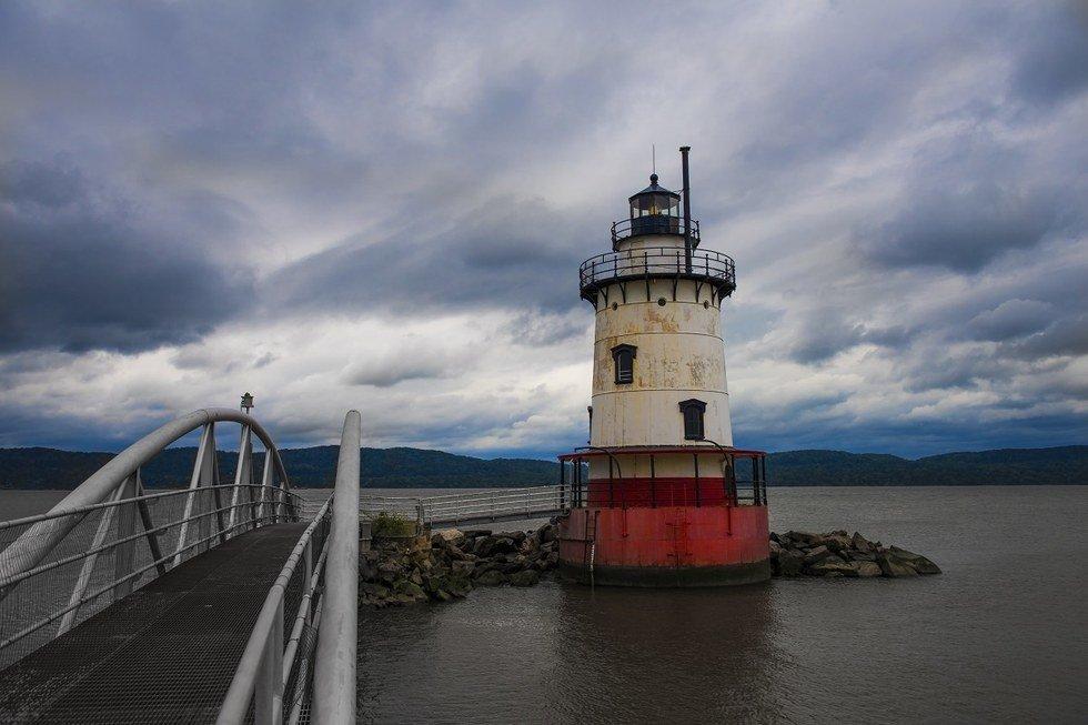 Lighthouse on a dark day in Sleepy Hollow.