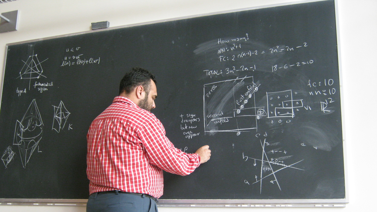 Only practice and hard work will can translate this math teacher's blackboard for students.