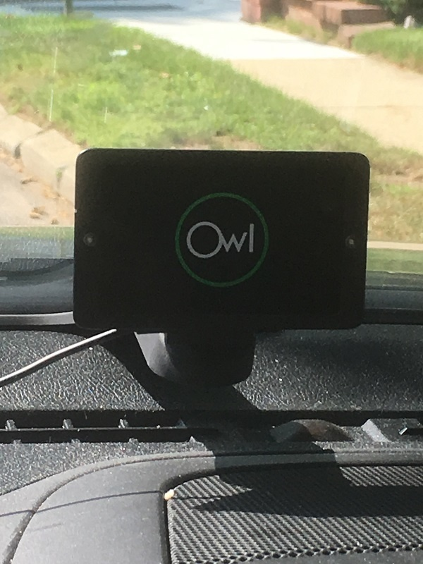 Picture of Owl Car Cam on a dashboard